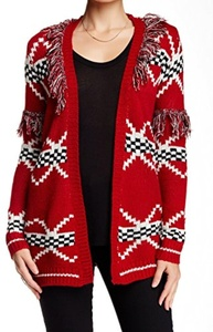 Woven Heart Fringe Trim Juniors Medium Cardigan Sweater Red M