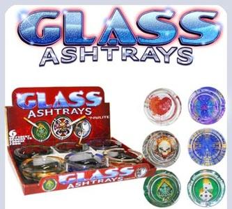 6 X GLOW IN THE DARK GLASS LIMITED EDITION CIGARETTE ASHTRAY