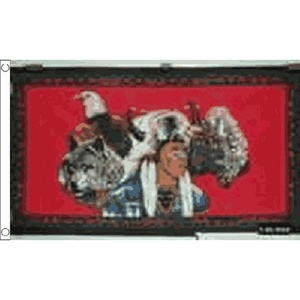 Indian Eagle Wolf Flag 5Ft X 3Ft Usa Native Red Indian Banner With 2 Eyelets New by Indian Eagle Wolf