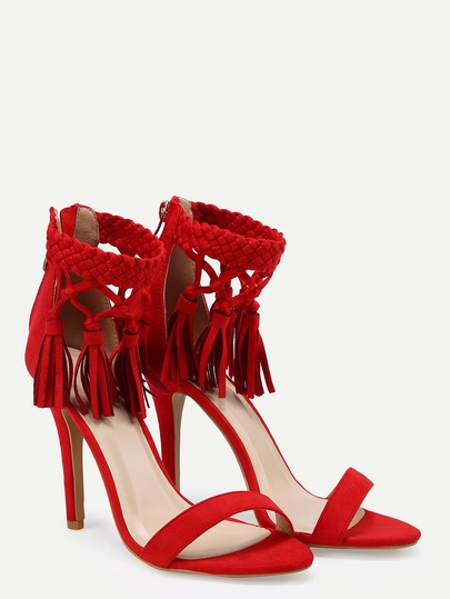 Vibrant Red Tassel Ankle Strap Stiletto