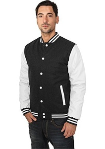 Urban Classics OLD SCHOOL College Jacke Charcoal White by Urban Classics