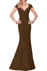 Avril Dress Captivating Spandex Evening Open Back Short Prom Sheath Party Dress New-16-Chocolate