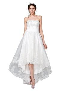 Angel Formal Dresses Women's A-Line Strapless Beaded Hi-Lo Tea Length Lace Wedding Dresses(20,White)