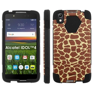 Alcatel One Touch IDOL 4 [Nitro 4/49] Phone Cover, Giraffe Print - Black Hexo Hybrid Armor Phone Case for Alcatel One Touch IDOL 4 [Nitro 4/49]