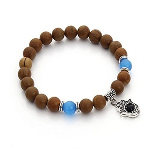 Leobeads Lucky Cat's Eye Opal Natural Stone Hamsa Evil Eye Hand Beads Charm Bracelet 8mm Adjustable