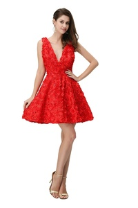 Angelia Bridal Women's V-Neck Short Cocktail Evening Party Dress (12,Red )
