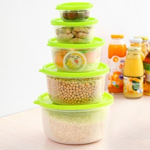 HAPLL Plastic Food Storage Containers Food Savers Lunch Boxes Leak-Resistant, Set of 5-(Green,Round)