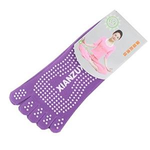 Unisex Full 5-Toe Yoga Socks Short Non Slip Skid Exercise Socks with Grip for Four Season (1#)
