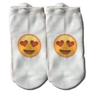 MOXY Socks Emoji In Love Face Dye Sublimated No-Show Socks