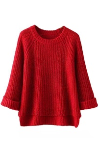 URqueen Women's Loose Ribbed Long Sleeve Knitted Pullover Sweater Red