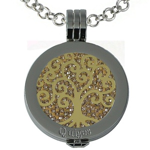 Quiges - Women Stainless Steel Necklace with 25mm Coin Locket and Coin Tree of Life/Flower of Life #1153