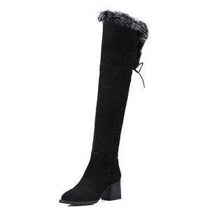 Nine Seven Suede Leather Women's Pointed Toe Chunky Heel Lace Up Thigh High Handmade Boot with Rabbit Fur (6, black)