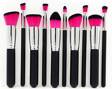 INMOZATA 10PCS Professional Premium Kabuki Makeup Brush Set Foundation Blending Blush Eyeshadow Face Powder Brush Makeup Brush Kit Balck Red by INMOZATA