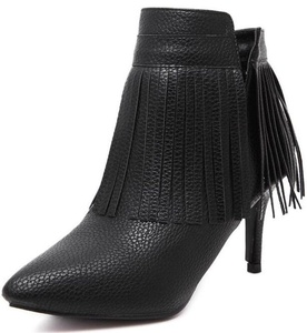 Summerwhisper Women's Sexy Fringes Pointed Toe Side Zipper Stiletto High Heel Ankle Boots Black 7.5 B(M) US