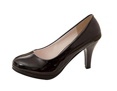 Freerun Women's Elegant Slip-on Round Toe Office Working High Heel Pumps (7 B(M)US,black)