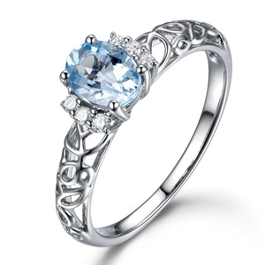 Oval Cut Blue Aquamarine Engagement Ring,14K Yellow Gold Wedding Ring,Diamond Promise Band,Marquise