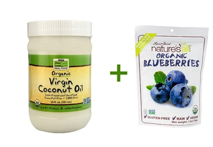 NOW Foods Real Food Organic Virgin Coconut Oil -- 12 fl oz, ( 3 PACK ), Nature's All Foods Organic Freeze-Dried Raw Blueberries -- 1.2 oz