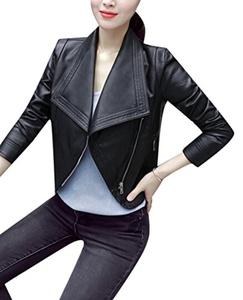 TRENDY XU Women Black Thin Faux Leather Coats Moto Cropped Slim Jacket (M)