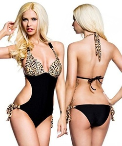 Black Monokini Swimsuit with Leopard Print (UK 8) by Same Game
