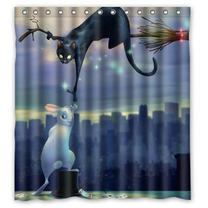 Welcome! Black Cat White Rabbit Waterproof And Mildew Resistant Decorative Shower Curtain 66x 72-Inch