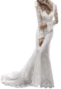 Meledy Women's Bohemian Mermaid Bridal Gowns V-Neck Long Sleeves Lace Formal Church Wedding Dress White US 14