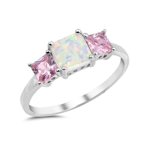 Solitaire Engagement Anniversary Ring Princess Cut Pink CZ Lab Created and White Opal 925 Sterling Silver