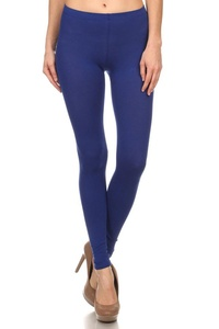 Leggings Mania Solid Colored Tights Cotton Spandex Leggings Royal Blue Large