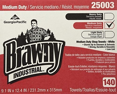 Medium Duty Shop Towels 9 1/10 x 12 2/5 140/Box by Brawny Industrial