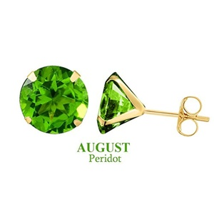 10k Yellow Gold 5mm Round August Peridot Birthstone Stud Earrings