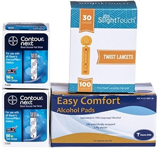 Bayer Contour Next Test Strips 100 Count, 100 Slight Touch Lancets and 100 Alcohol Pads by Slight Touch