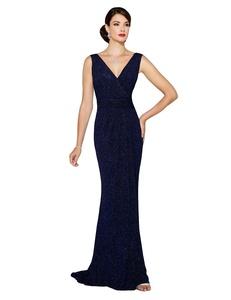 Favors Women's Elegant V Neck Mermaid Evening Dress Sequin Formal Gown Navy Blue 20W