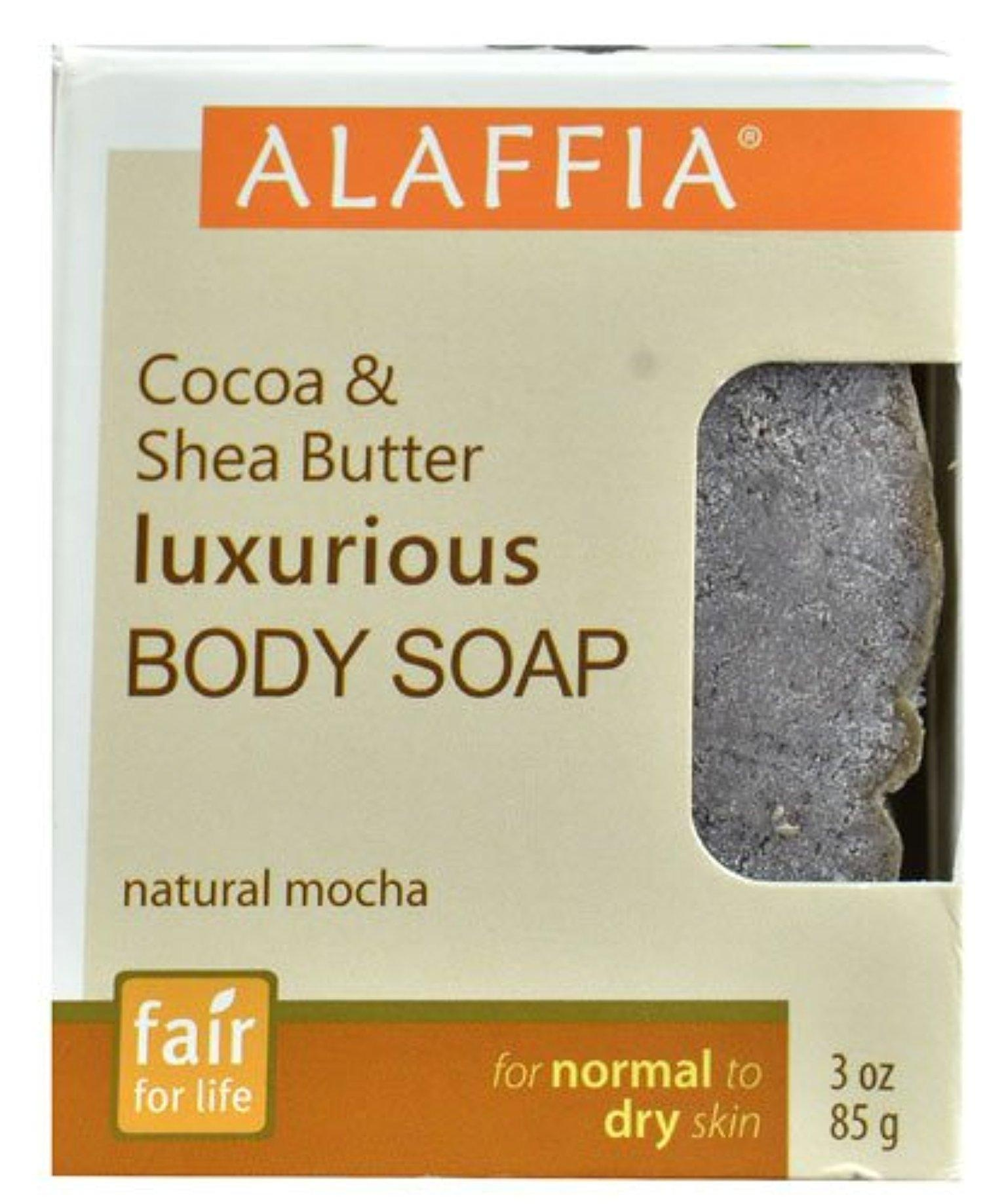 Alaffia Cocoa & Shea Butter Luxurious Body Soap Natural Mocha -- 3 oz