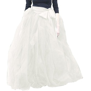 WDPL Women's Long A-line Tulle Ruffles Ball Gown Tutu Skirt X-Large Ivory