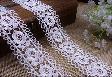 1 1/4 inch Wide White Color Crafts Sewing Handmade Embroidery Lace Trim Ribbon DIY Craft Trims Bridal Wedding Applique Polyester 1 Yard