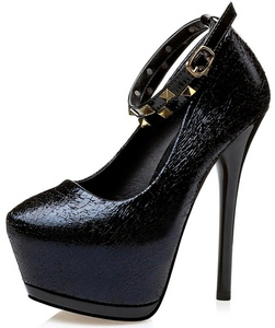 Summerwhisper Women's Sexy Round Toe Extreme High Stiletto Heel Club Shoes Rivets Studded Ankle Strap Platform Pumps Black 5 B(M) US
