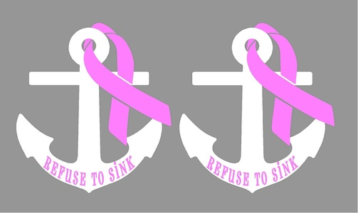 Refuse To Sink Breast Cancer Awareness Decal, Pack of 2 Decals