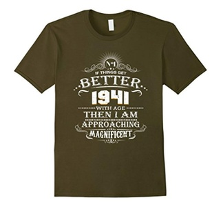 Men's 75 Years Old Gift T-Shirt Made In 1941 75th Birthday XL Olive