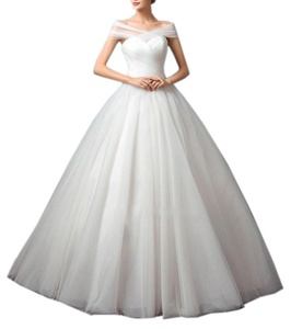 Beautyfudre Women's Sweetheart Pleated Bodice Backless Tulle Ball Gown Wedding Dress Ivory US14