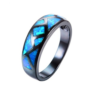 CHIC Trendy Geometric Style Blue Fire Opal Ring Black Gold Filled Charm Jewelry Wedding Party Finger Rings 8.0
