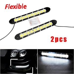 CHAMPLED 2x 10SMD Flexible Daytime Waterproof Running Light LED DRL Fog Car Warning Lamp For HONDA INFINITI KIA HYNDAI DACIA DAEWOO