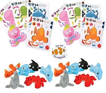 24 Mini Ocean Plush Assortment (6 different), 24 Make-Ocean-Animal/Fish Sticker Sheets and a Birthday Sticker (Bundle of 3), Total 49 pieces by Multiple