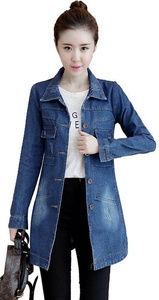 SiYuan Women's Casual Denim Jacket Long Loose Holes Outwear Dark Blue S