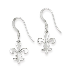 .925 Sterling Silver 29 MM Polished Fleur De Lis Dangle Shepherd Hook Earrings