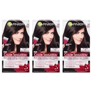 Garnier Hair Color Sensation Rich Long-Lasting Color Cream, 3.0 Darkest Brown, 3 Count
