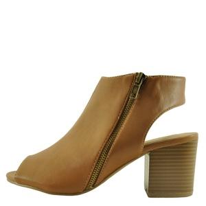 Bamboo Premium 03S Women's Peep Toe Zipper Cut-Out Bootie (10, Tan)