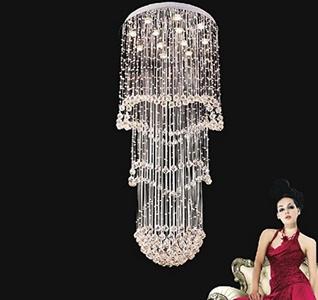 lustre design luxury chandelier LED crystal light modern steel staircase chandelier light Dia80H180cm By Iwinwin