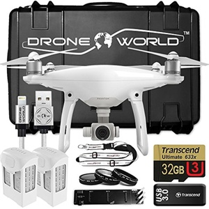 DJI Phantom 4 Bundle Upgrade Kit w/ Hard Travel Case, Lens Filters, 2 Extra batteries (2 total) Triple Charger, 32 GB and More