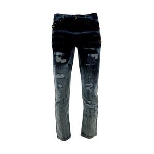 Focus Denim - Men's Zip Pocket Rips Jeans - Jet Black