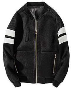 BYBU Mens Casual Long Sleeve Full Zip Jackets Black L