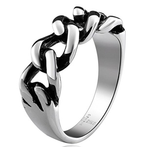 GemMart Jewelry Punk Rock Style Male Ring Cool Men Jewelry Fashion Titanium Stainless Steel Rope Chains